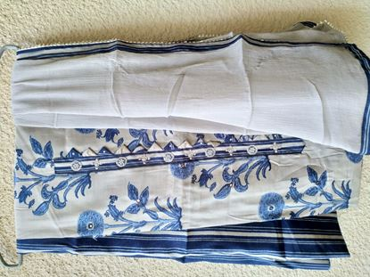 Picture of Printed muslin with pure chiffon dupatta a perfect indigo style