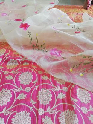 Picture of Banarsi jaqard paired with organza hand painted dupatta