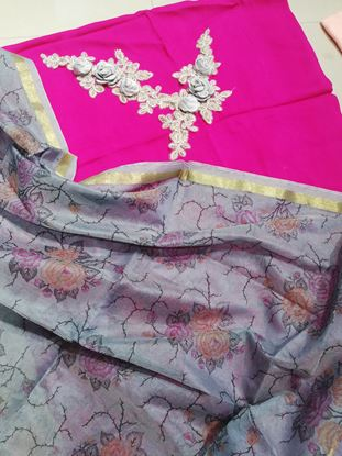 Picture of Georgette cotton with patches paired with printed organza dupatta